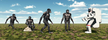 Homo Habilis and Astronaut Stock Image