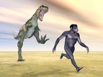 Homo Habilis - Human Evolution. Computer generated 3D illustration with Homo Habilis and Dinosaur Bistahieversor Stock Photo