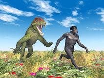 Homo Habilis - Human Evolution. Computer generated 3D illustration with the Homo Habilis and the Doliosauriscus. Homo Habilis is an extinct species of the genus Stock Photos