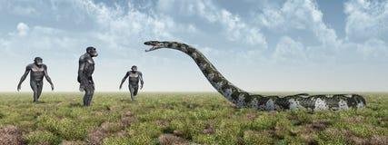 Homo Habilis and Titanoboa. Computer generated 3D illustration with the Homo Habilis and Titanoboa. Homo Habilis is an extinct species of the genus Homo Stock Image