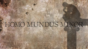 Homo mundus minor. A Latin phrase. Homo mundus minor. A Latin phrase by Anicius Manlius Severinus Boethius that means a person is a world in miniature Royalty Free Stock Image