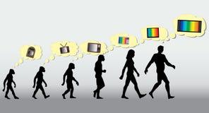 Homo sapiens Fernsehapparat Stockbild