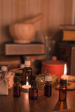 Homoeopathic pharmacy. Still life with glass small bottles Stock Photography