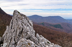 Homolje mountains landscape, peaks and rocks on a sunny autumn day with a few clouds Stock Photo