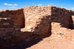Homolovi State Park protects the ruins of an ancient Hopi pueblo. Ruins of an ancient Hopi ancestral building preserved at Homolovi State Park near Winslow Royalty Free Stock Photos