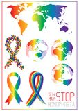 Homophobia στάσεων Η κορδέλλα από τις μικρές καρδιές στο lgbt σημαιοστολίζει τα χρώματα διανυσματική απεικόνιση