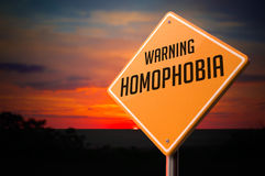Homophobia on Warning Road Sign Stock Images