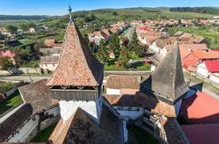 Homorod overview from the vilage Church tower Stock Photo
