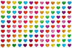 Homoseksualna duma, homoseksualista, walentynka dzień i lgbt pojęcie, - serca w kolorach flaga plciowy mniejszości tło jak kartę  obraz stock