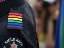 Homoseksualnego patka munduru oficera dumy oficjalna ambulansowa parada Vancouver zdjęcia royalty free