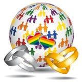 Homoseksueel huwelijk en goedkeuringspictogram. Stock Afbeelding