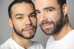 Homoseksueel paar over een witte achtergrond op studio stock afbeelding