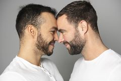 Homoseksueel paar over een witte achtergrond op studio stock foto