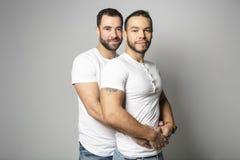Homoseksueel paar over een witte achtergrond op studio royalty-vrije stock afbeeldingen