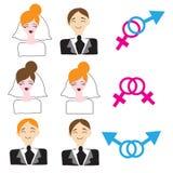 Homoseksuele en heteroseksuele huwelijkspictogrammen Stock Afbeeldingen