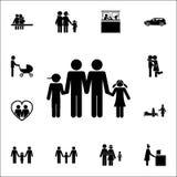 homoseksuele familie met kinderen die handenpictogram houden Gedetailleerde reeks familiepictogrammen Grafisch het ontwerpteken v stock illustratie