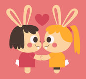 Homosexual Bunny Couple Holding Hands Royalty Free Stock Photo