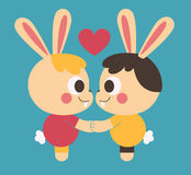 Homosexual Bunny Couple Holding Hands. Vector illustration of a cartoon homosexual bunny couple looking at each other eyes, holding hands next to a floating Stock Image