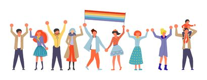 Homosexual community on Love parade. A group of people holding rainbow flag on Love parade. Homosexual community in flat design. Gay love pride, sexual stock illustration