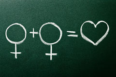 Homosexual copule in love symbols. On green blackboard stock images