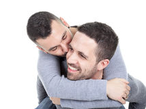 A homosexual couple over a white background Royalty Free Stock Photos