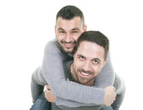 A homosexual couple over a white background Royalty Free Stock Photo