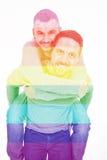 A homosexual couple over a white background Stock Photos
