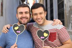 Homosexual couple showing the world their pure love.  royalty free stock photos