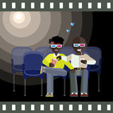 Homosexual couple watch 3d movie. Two man Afro-American friends watch a movie in 3D glasses. Aframerican Gay couple smiling, relaxing, eating corn and drinking Stock Images