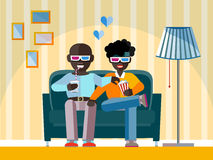 Homosexual couple watch 3d movie. Two man Afro-American friends watch a movie in 3D glasses. Aframerican Gay couple smiling, relaxing, eating corn and drinking Royalty Free Stock Photos