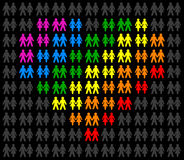 Homosexual Couples. Icons of gay couples, that form a multicolored heart and stand out from the gray crowd. Isolated vector on black background vector illustration