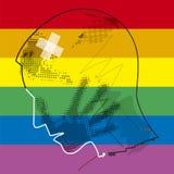 Homosexual del hombre joven, víctima de la violencia ilustración del vector