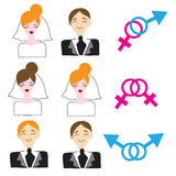 Homosexual and heterosexual wedding icons Stock Images