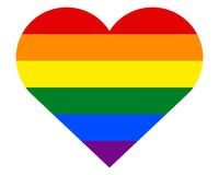 Homosexual love concept. Heart with six rainbow stripes. Royalty Free Stock Photography