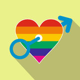 Homosexual love male flat icon Stock Image