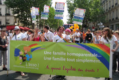 Homosexual parents at Paris Gay Pride 2010 Royalty Free Stock Image