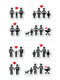 Homosexual, pares lesbianos y familia con el icono de los niños Imagen de archivo libre de regalías