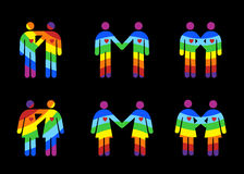 Homosexual y la lesbiana junta pictogramas Imagenes de archivo