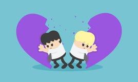 Homosexualitet 2 män och kvinnaentreprenörer som är avbrott stock illustrationer