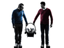Homosexuals  parents men family with baby silhouette. Homosexuals parents men family with baby in silhouettes on white background Stock Image