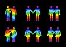 Homosexuel et la lesbienne accouple des pictogrammes Images stock