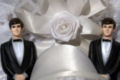 Homosexuelle Ehe mit zwei Bräutigamen Stockfoto