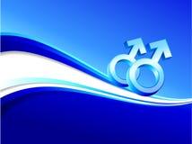 Homosexuelle Geschlechtssymbole auf abstraktem blauem Hintergrund Stockfotos
