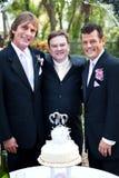 Homosexuelle Hochzeits-Paare mit Minister stockfotografie