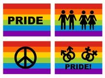 Homosexuelle Markierungsfahne und Ikonen lizenzfreie abbildung