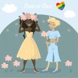 Homosexuelle Paare erfassen zusammen Blumen in der Wiese Romantische homosexuelle Illustration stock abbildung