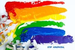 Homosexuelle Stolzmarkierungsfahne des Regenbogens Lizenzfreie Stockfotos