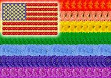 Homosexuelle USA-Blumenflagge des Regenbogens Stockbild