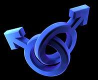 Homosexuelle von Mann zu Mann blaue Symbole Stockbild