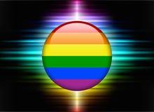 Homosexueller Flaggen-Ikonen-Knopf auf abstraktem Spektrum-Hintergrund Stockfotos